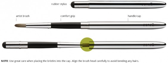 The Sensu Brush works with capacitive touch screens